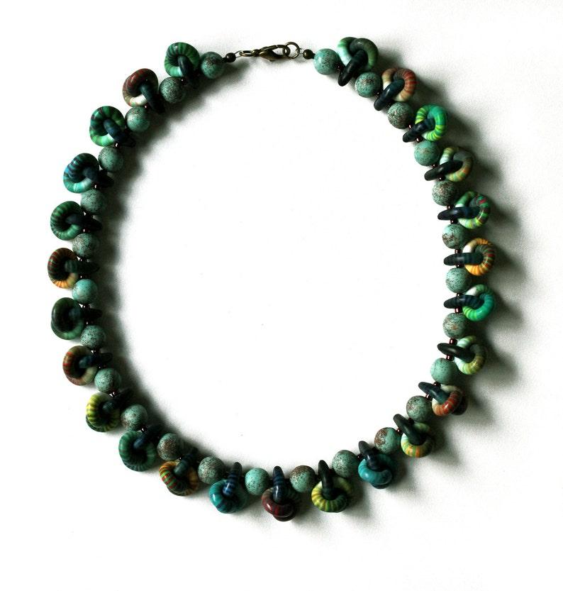 008d54df4ad3 Collar Arcilla polimérica Collar Nudos Collar verde Collar