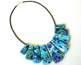 Polymer necklace, polymer clay, handmade necklace, one of a kind, unique necklace, cool necklace, statement necklace, Trapezoidal tiles