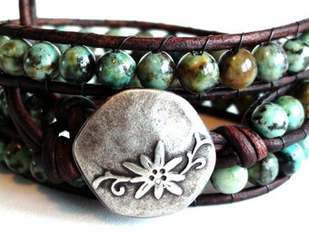 African Turquoise Leather Wrap Bracelet