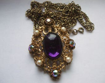 Large Oval Pendant with Purple Glass Cabochon, Pearls and A/B Stones 1970s Necklace