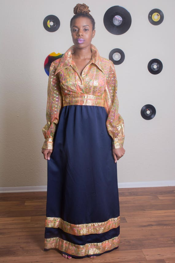 70's Long Gold Metallic Evening Dress