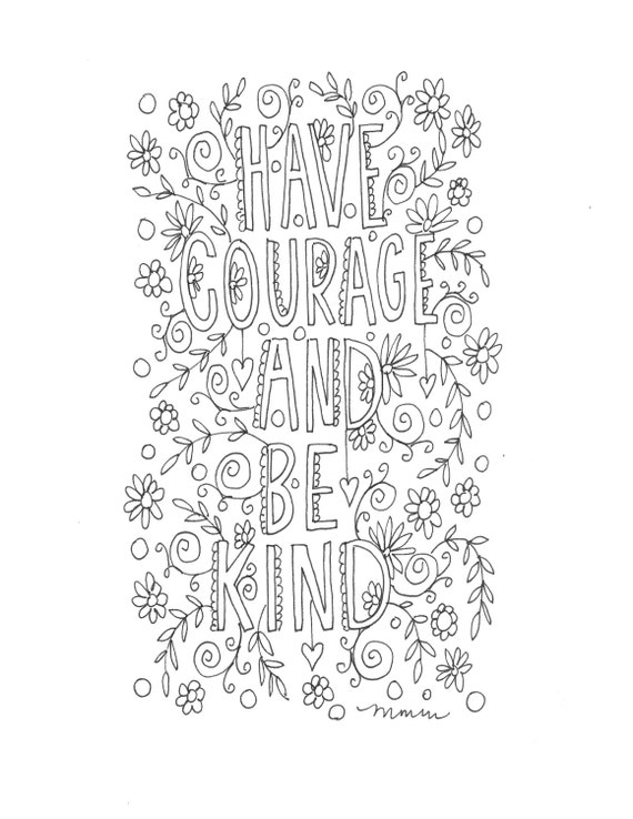 Quote Coloring Page INSTANT DOWNLOAD Line Art Illustration