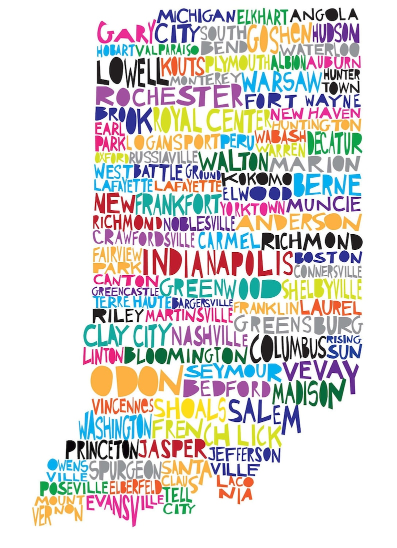 Indiana Digital Ilustration Indiana Map With Cities Listed Etsy