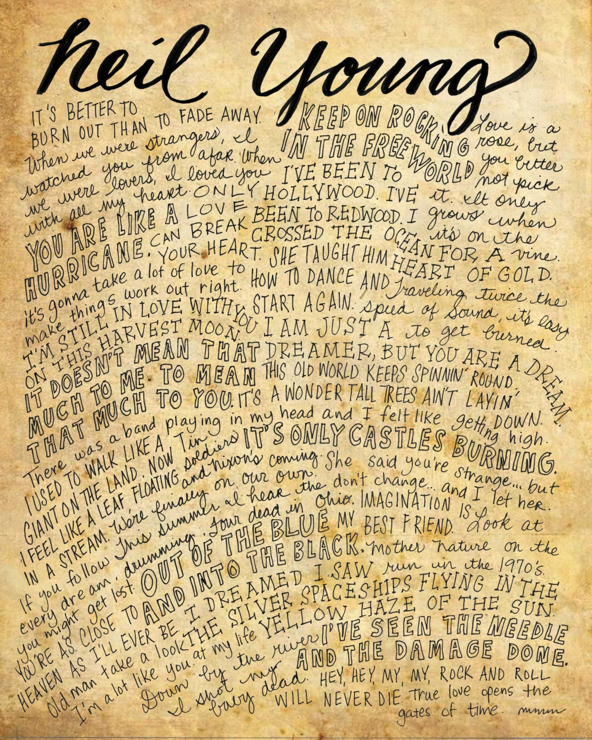 Neil Young Lyrics And Quotes 8x10 Handdrawn And Handlettered Etsy