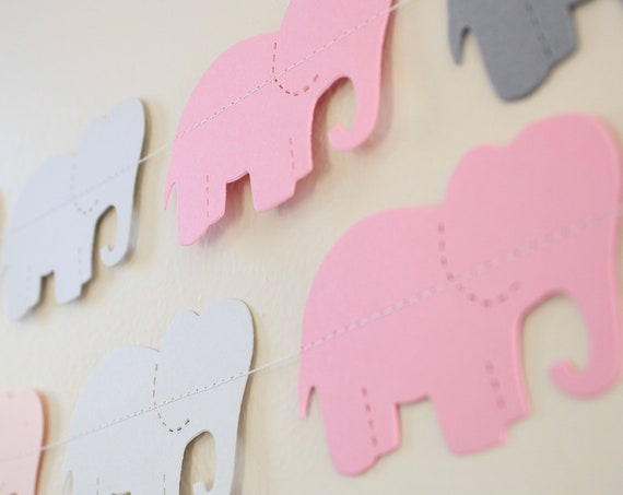 Baby Shower Decoration-Pink elephant garland