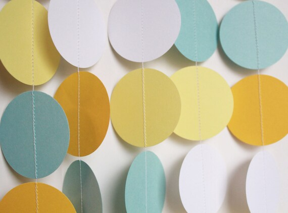 Paper Garland - Baby Shower, Shower Decorations, Circle Dot Garland, Birthday Decor, Photo Prop, Baby Shower Decor, Banner
