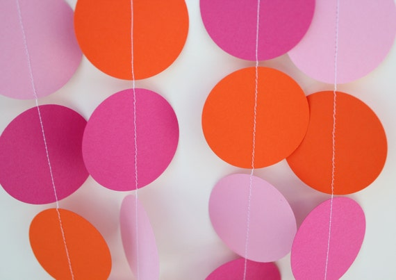 Birthday Party Decorations - Paper Garland, Hot Pink, Orange and Light Pink, birthday parties, baby showers