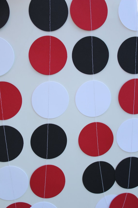 Ladybug Birthday Party Decorations, red, black and white garland, party decor, event decor