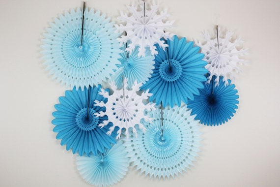 Birthday Decorations- Tissue Paper Fans, snowflake, light blue, turquoise. winter, ice theme