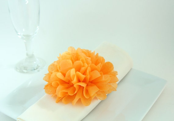 20 Tissue Paper Flower Napkin Rings- CUSTOM COLORS- Party Decor, event,rustic wedding,shabby chic baby shower, bridal shower, wedding