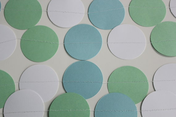 Baby Shower Decoration -  Paper Garland, mint green, white, light blue