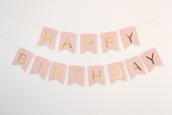 Happy Birthday Banner- Pink with gold foil letters