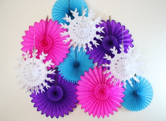 Winter Birthday Party Decorations, birthday decor, snowflakes, girl birthday, winter party- 10 Tissue Paper Fans