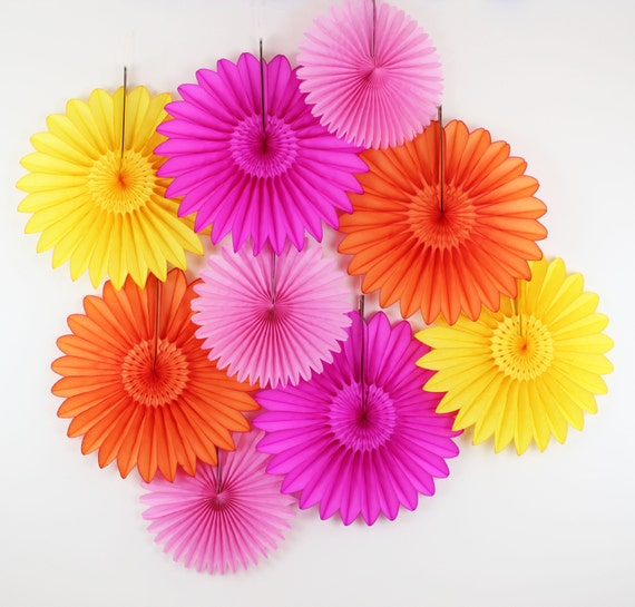 Birthday Party Decorations 9 Tissue Paper Flower Fans Etsy