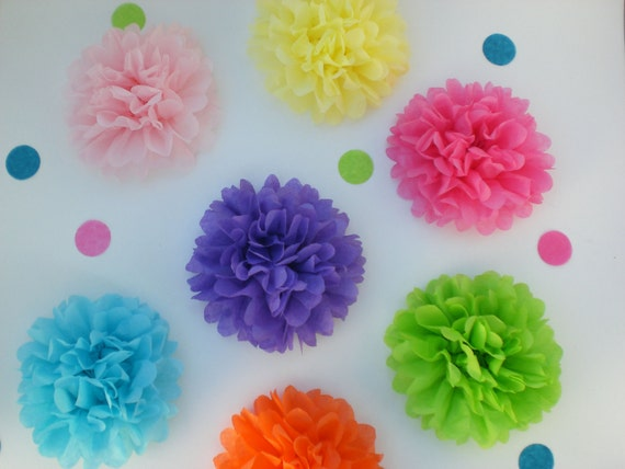 40 Tissue Paper Flowers, Birthday Party Decorations, Event Decor, Baby Shower Decor Flower Party, Garden Party, Tea Party (CUSTOM COLORS)