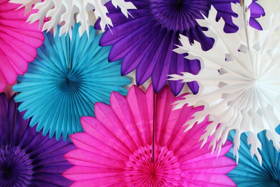 Birthday Decorations-  Winter Party Decor, tissue paper fans, snowflakes, ice, girl birthday decor