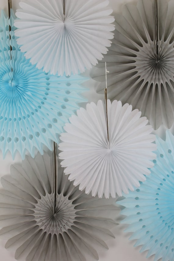 It's A Boy Baby Shower Decor, shower decorations, first birthday decor, blue, gray and white, it's a boy- 6 Tissue Paper Fans