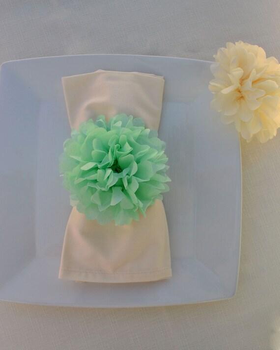 Baby Shower Decor 20 Tissue Paper Flower Napkin Rings Etsy