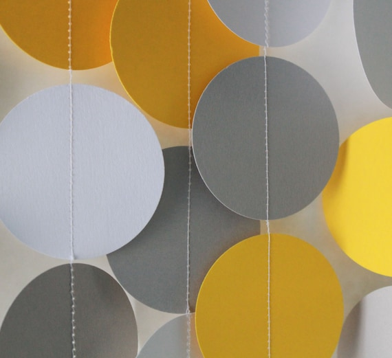 Baby Shower Decoration, paper garland, gender neutral, baby boy shower, gray and yellow decorations, circle dot garland, banner