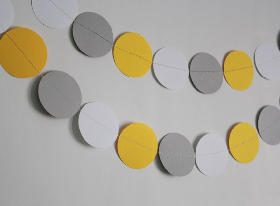 Gray, yellow and white garland, birthday decoration, party decor, paper garland, circle garland, elephant theme, bumble bee, streamer