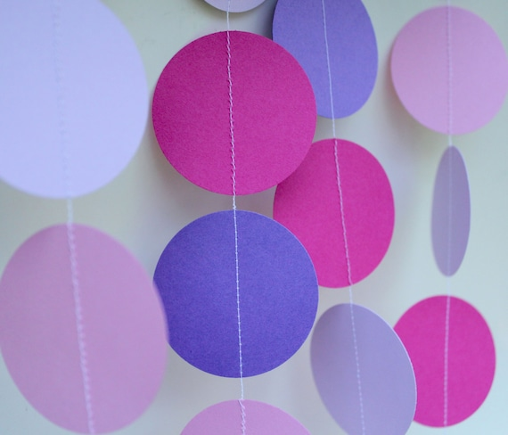 Birthday Party Decor - Paper Garland, girl birthday decorations, pink and purple,princess, first birthday, teen birthday