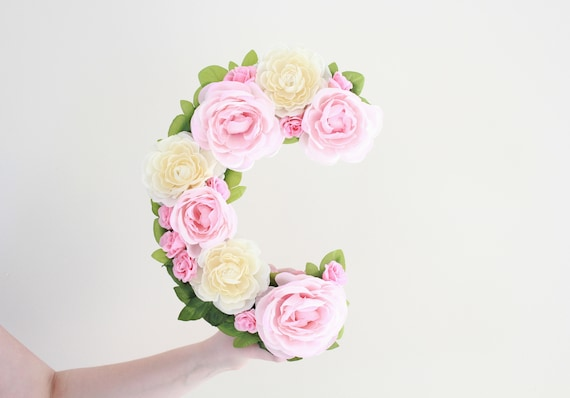 Floral Monogram Letter, Wedding Letter, Baby Shower Decor, bridal shower decor, Custom Floral Letter -Sweet Rose