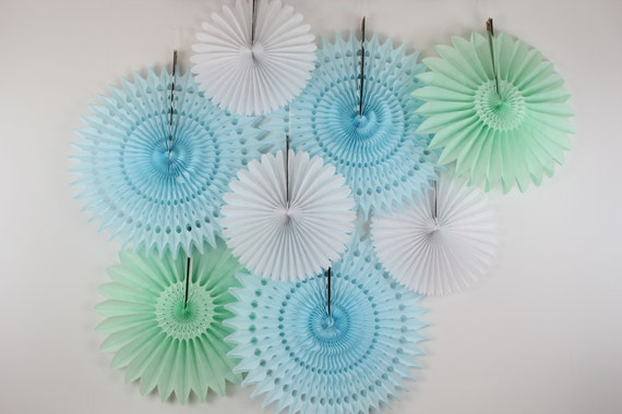 8 Tissue Paper Fan Decoration Kit, birthday parties, bridal showers, baby shower decor