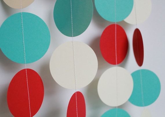 Baby Shower Decor- Paper garland party decoration, birthday parties,  red, ivory and aqua