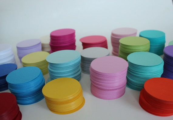 "60 card stock circles 2""- cardstock circles, die cuts, favor tags, gift tags, craft supply, school craft, CUSTOM COLORS"