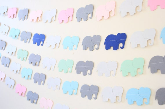 Elephant Garland- paper garland baby shower decor, elephant theme party - PICK YOUR COLORS