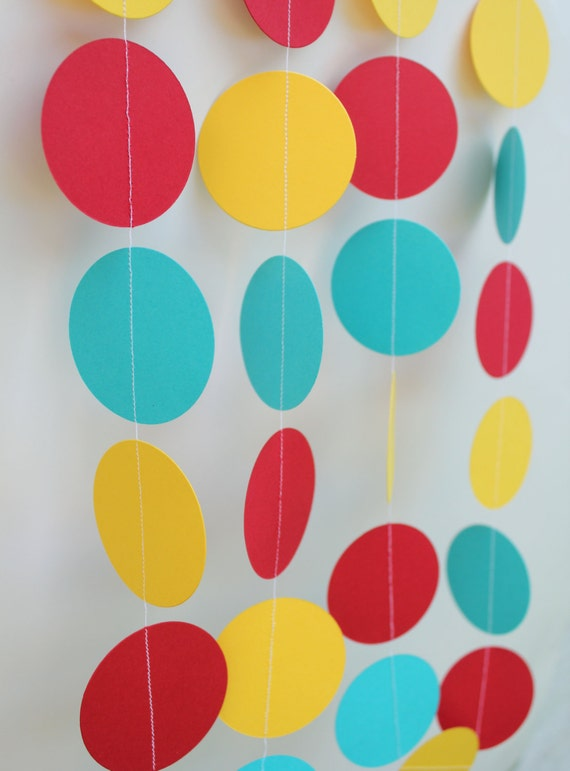 Birthday Decoration- Paper Garland . red,teal and yellow, party decor 5ft long