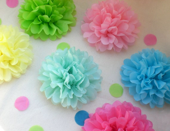 20 Tissue Paper Flowers, Birthday Party Decoration, Party Decor, Baby Shower Decor, Flower Party, Outdoor Party (PICK YOUR COLORS)
