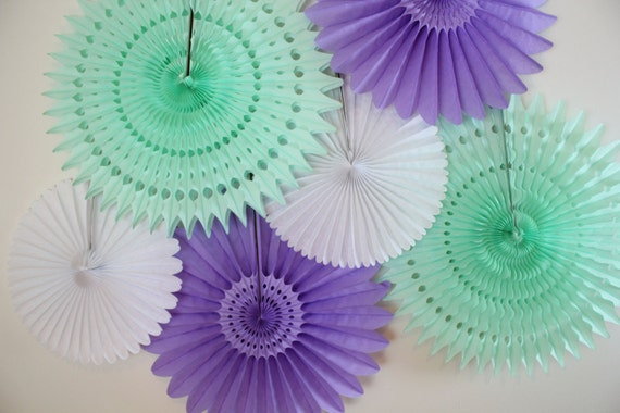 Tissue Paper Fans-bridal shower decor, baby shower, birthday party decor, wedding decorations, mint, light purple