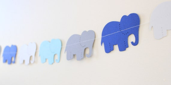 Elephant Garland- Baby Shower decor, paper elephant banner, blue and gray 5ft Long