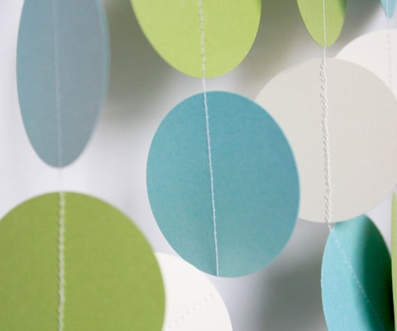 Baby Shower Decorations. Paper Garland. Baby Boy Shower, ivory, light blue and green