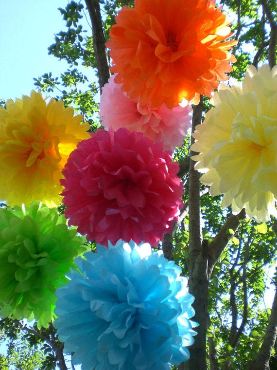7 Tissue Paper Pom Poms ..Any Colors ,  Wedding, Baby Shower , Birthday Party Decor