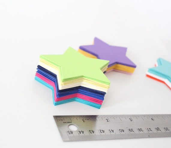 Paper Stars- die cuts,  favor tag, gift tag ,cupcake topper, party decor, die cut, paper star, scrapbooking- PICK YOUR COLORS Set of 30