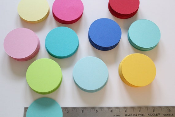 "2.5"" Cardstock circles- DIY garland, cupcake toppers, favor tags, weddings, baby showers, birthday parties, scrapbooking- 100 Circles"