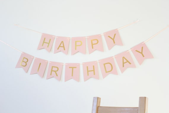 Pink and Gold Birthday Banner- pink and gold birthday decor, birthday decorations, Happy Birthday Banner- Pink with gold foil letters