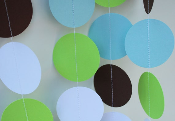 Boy Birthday Decorations. Paper Garland Party Decor, light blue, green, brown and white