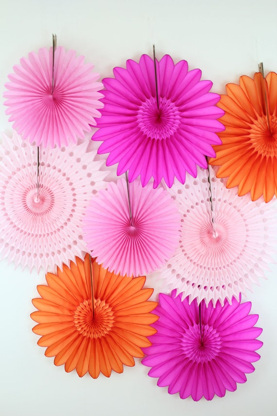 8 Tissue Paper Fans Decor Kit - Pinks  and Orange, children's birthday parties , bridal showers, birthday party decorations