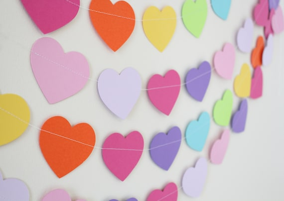 Birthday Decoration- Paper Garland, hearts, birthday decor,  5 feet long PICK YOUR COLORS