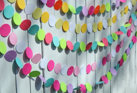 Birthday Party Decoration- Paper Garland, Party Decoration,  children's birthday parties, baby showers, weddings (CUSTOM COLORS)