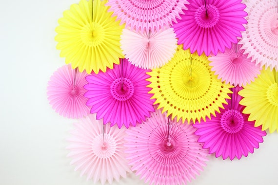 Set of 13 Tissue Paper Flower Fans- Pink Lemonade, pink and yellow decor, birthday decorations, first birthday, bakery shop decor, event