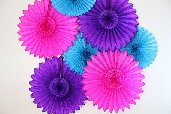Birthday Decor- 7 Tissue Paper Fan Decor Kit- Children's parties- Birthday decorations, purple, turqouise and hot pink