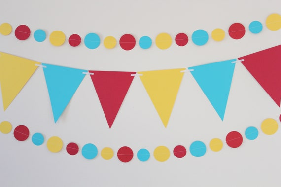 Birthday Decoration-Paper Garland & Banner Kit, red, teal, yellow, party decor, carnival theme, circus theme- 3 PIECES