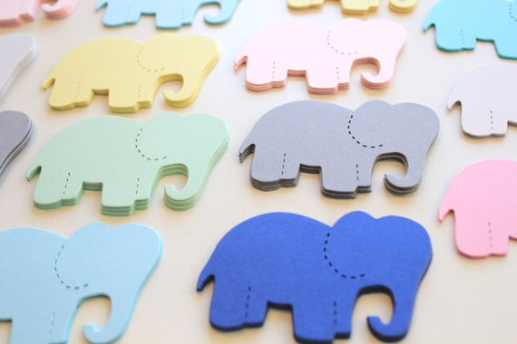 30 Elephant Die Cuts- Card Stock Elephant Cut Outs, school project, Place Cards Tags, Cupcake Toppers-PICK YOUR COLORS