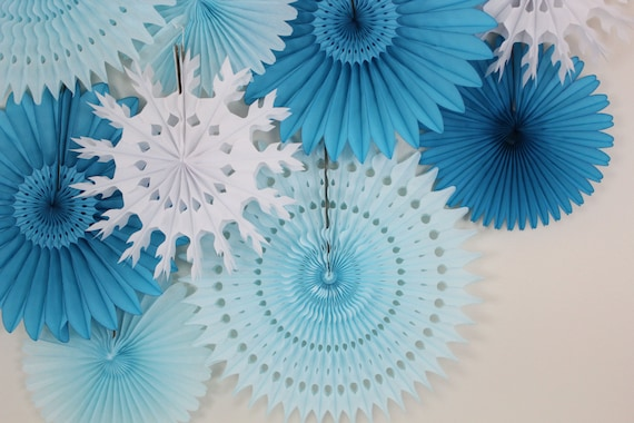 Winter Wedding Decor- Tissue Paper Fan Wheels and Snowflakes, wedding decoration, bridal shower, winter wedding