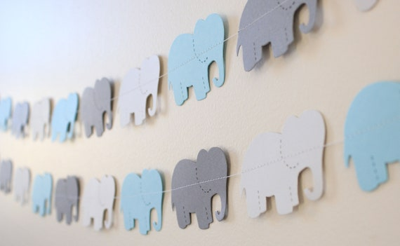 Elephant Baby Shower Decor- blue and gray 5ft Long