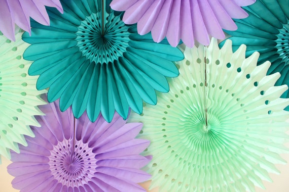 Party Decorations- birthday parties, baby showers, wedding decor, Tissue Paper Fans, Mint, Teal, Purple, Peacock Wedding
